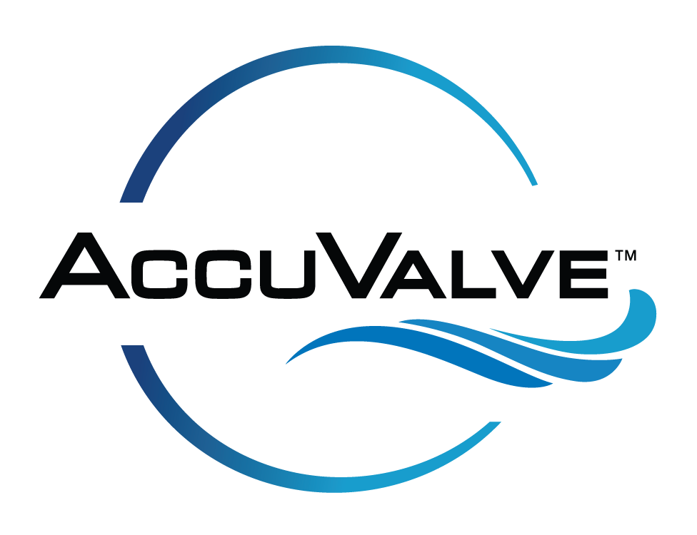 Accuvalve water flow management device logo